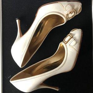 Dolce & Gabbana White Peep-Toe Pump.  Size 8